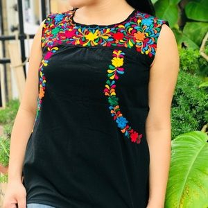 Authentic Mexican Embroidered Blouse Sleeveless